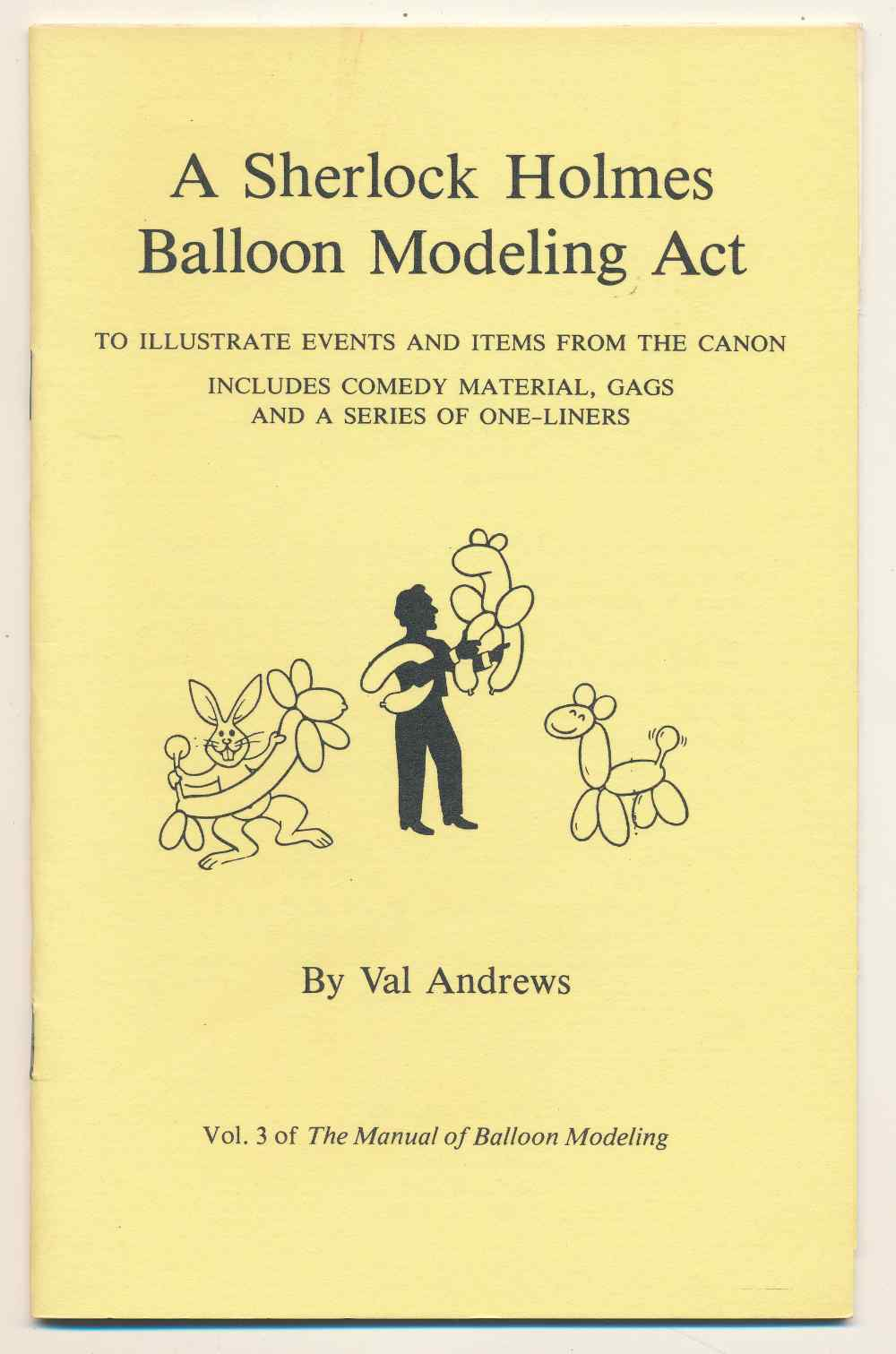 A Sherlock Holmes balloon modeling act to illustrate events and items from the canon